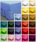 Poly Cotton Fitted Valance Bed Sheets in plain Dyed Colours Single, Double, King