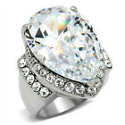 Huge Pear Shape Clear Stone Rosette Silver Stainless Steel Ladies Ring New