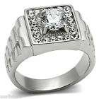 Round 2.3ct RX Band Clear CZ Silver Stainless Steel Mens Ring