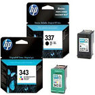 2 HP 337 & 343 Genuine Ink Cartridges C9364EE / C8766EE