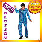 C664 Mens Austin Powers Carnaby Street Blue Suit Deluxe Halloween Adult Costume