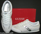 NEW-GUESS DANICE WHITE FABRIC/LEATHERETTE+SILVER+CRYSTALS SPORT SHOES SIZES:6-9