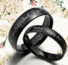 UK BOX SET Black Lord of Rings Your Word His & Her Wedding Titanium Rings Sets