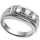 Three Clear CZ Stones 0.72ct Silver Stainless Steel Unisex Ring