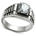 4ct Brilliant Rock Silver Stainless Steel Mens RX Band Ring