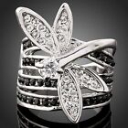Dragonfly Agate Austrian black Crystal white gold GP Fashion finger Ring