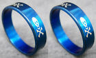 R074S charm men skull stainless steel cool blue ring you pick size New