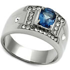 Mens Oval Shape Montana Blue Stone Silver Stainless Steel Ring