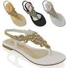 LADIES FLAT DIAMANTE TOE POST WOMENS SPARKLEY DRESSY PARTY SANDALS SIZE 3 - 8