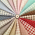 Shabby Chic Polka Dots & Gingham Check on Natural White Cotton Linen Fabric
