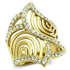 Ladies Curved Flower Armor Gold EP Cocktail Ring