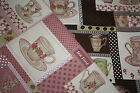 NEW 1/4 m Shabby Chic Linen Fabric Rose Cherry Flower Coffee Cup BROWN & PINK