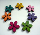 10 pcs flower shaped wooden buttons 20mm scrapbooking- 7 colours to choose from!