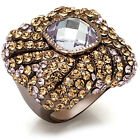 Ladies Light Amethyst Le Chocolate Gold Plated Rosette Ring