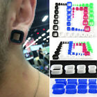 Pair Flexible Square Shape Silicone Flesh Tunnels Flared Plugs UV Flexi Earring