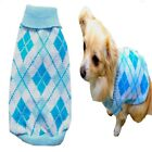 Dog Sweater Blue Plaid XS S M L - Coat Puppy Pet Clothes Jacket Jumper Chihuahua