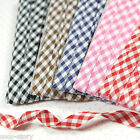 """5Colors Cotton Check Pattern Bias Binding Tape -4yds- 3/8"""" Wide when Folded S"""