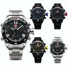 4 Color SHARK Army Military Stainless Steel Digital Analog Men's Sport Watch Box