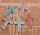 1x Fahsion Crystal Paved Cross Connectors Charms for Bracelet Jewelry,5 Colors