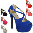 WOMENS LADIES CROSSOVER PEEPTOE PLATFORM HIGH STILETTO HEEL SHOES SANDAL SIZE UK