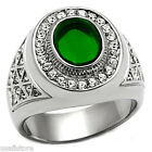 Mens Green Dome Stone Silver Stainless Steel Ring