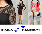 NEW SEXY LACE DRESS * BODYCON TUNIC TOP * LONG SLEEVES * BOAT NECK * PARTY *8409