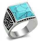 Mens Turquoise Stone Emperor Silver Stainless Steel Ring