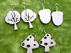 Wooden earrings natural plain wood craft decoupage laser cut woodland acorn tree
