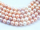 "1 2 5 10pcs 8 9 10mm near round white pink purple freshwater pearl bead 17""clasp"