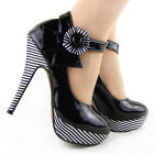 New Womens Black Patent Flower Ankle Strap Stripe High Heel Platform Party Shoes