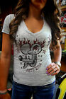 Ladies Gray Bella Burnout Rat's Hole V Neck Tattoo Rat with Flame