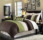 8 Pieces Luxury Stripe Green, Brown, Beige Comforter Bed-in-a-bag Set Full Size image