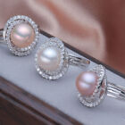 ONE big size natural 11-12mm AAAA pearl 925s ring(8color can choose)jewelry