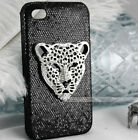HANDMADE FOR IPHONE 4 4S 5 LEOPARD BLING CROSS CRYSTAL HARD BACK CASE COVER #19