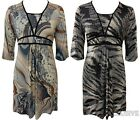 New Womens Plus Size Tye-Dye Paisley Print Tie Back Tunic Going Out Dress 14-28