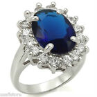 Ladies Blue Stone Halo Engagement Silver Rhodium EP Ladies Royal Ring