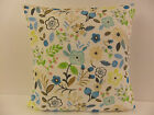 TRENDY RETRO FLOWERED SINGLE CUSHION COVERS BLUE BROWN PINK LIME GREEN LEAVES