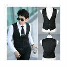 Men's Top Designed Casual Slim Fit Skinny dress vest Waistcoat Black M-XXL V06