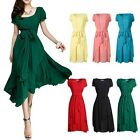 sexy Damen Ball Gown Puff Chiffon Sommerkleid Maxi Lang Party Strandkleid Kleid