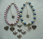 FAMILY and FRIENDS  HEART CHARM  BRACELET BLUE or PINK PEARL HANDMADE