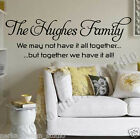 THE HUGHES FAMILY WALL STICKER  Huge Size Family Wall Quote   S43