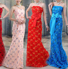 New Custom Made Lace Sequins Formal Evening Bridesmaid Strapless Dress Ball Gown