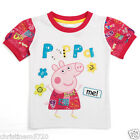 GIRLS WHITE PEPPA PIG RED SLEEVE TOP T-SHIRT 18-24,2-3,3-4,4-5,5-6