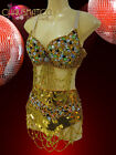 CHARISMATICO Beaded Gold Sequined Belly Dancer Bra and Matching Wide Belt