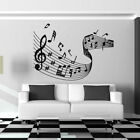 Musical Notes Wave Sheet Music Wall Sticker Vinyl Decal Large Black Home Decor