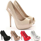 Womens Party Platform Pumps High Heels Stiletto Prom Peeptoe Court Shoes Size