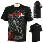 MRX Mens Gym T Shirts Mesh Training Stylish MMA Shirt Short Sleeve Top Black