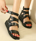 Ladies Black Open Toe Punk Rock Strappy Flat Gladiator Sandals Shoes #98-9