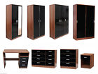 NEW Caspian High Gloss Black & Walnut Bedroom Furniture Set - Full Supreme Range