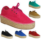 NEW LADIES WOMENS LACE UP HIGH COMFY PLATFORM CASUAL PUMPS FLATS BOOT SHOE SIZE